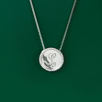.10 ct. t.w. Diamond Single Initial Pendant Necklace in Sterling Silver