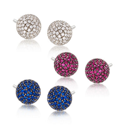 .70 ct. t.w. CZ Jewelry Set: Three Pairs of Stud Earrings in Sterling Silver, , default