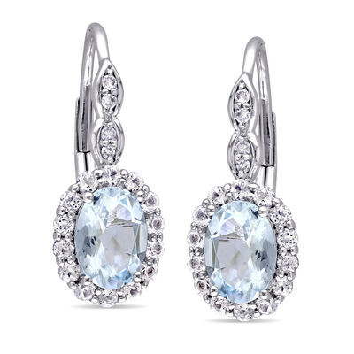1.20 ct. t.w. Aquamarine and .80 ct. t.w. White Topaz Drop Earrings with Diamond Accents in 14kt White Gold
