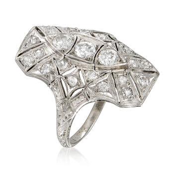 C. 1950 Vintage .90 ct. t.w. Diamond Filigree Ring in Platinum. Size 6, , default