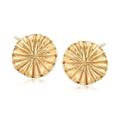 Italian 18kt Yellow Gold Circle Burst Earrings, , default