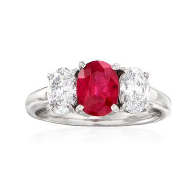 C. 1990 Vintage 1.58 Carat Ruby and .97 ct. t.w. Diamond Ring in Platinum