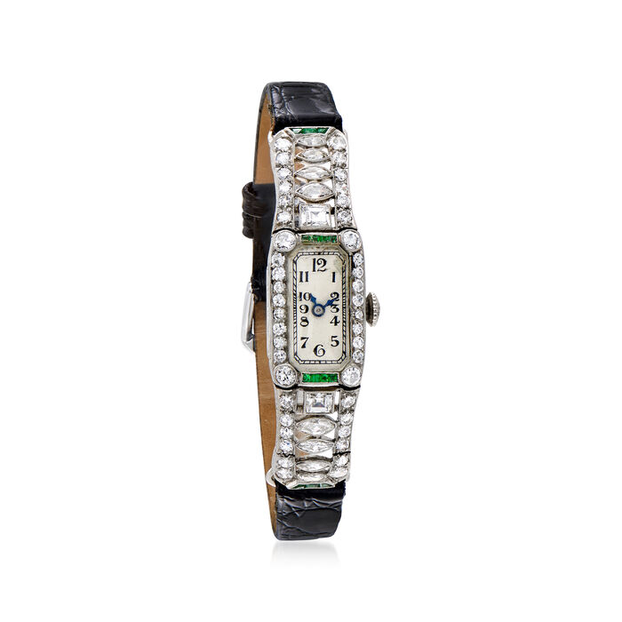 C. 1940 Vintage Women's 3.45 ct. t.w. Diamond and .35 ct. t.w. Emerald Watch in Platinum. Size 7