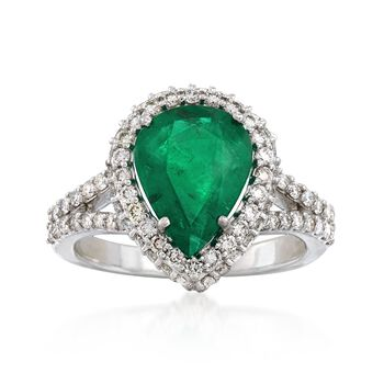2.40 Carat Emerald and .86 ct. t.w. Diamond Ring in 18kt White Gold, , default