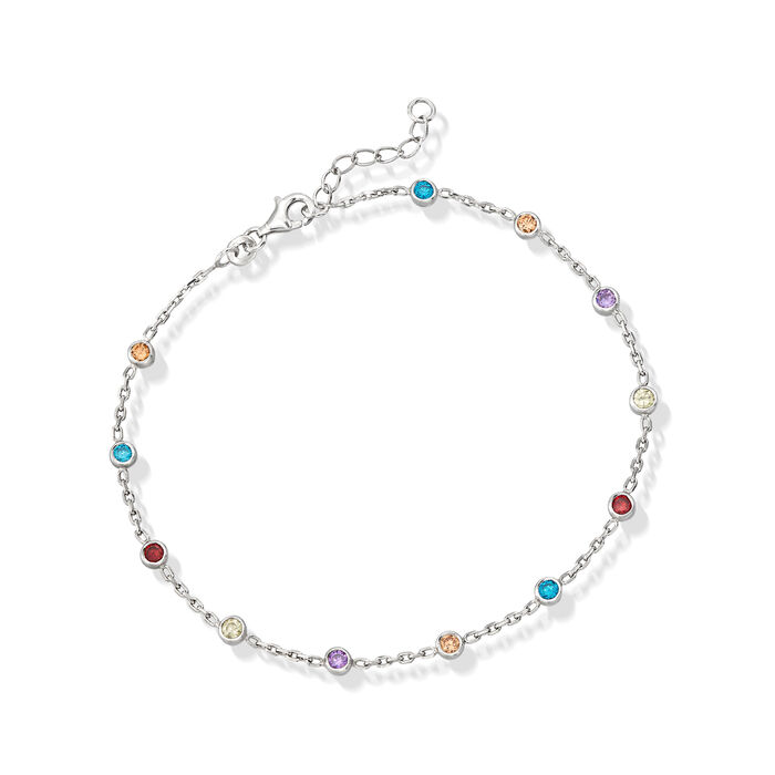 """1.20 ct. t.w. Multicolored CZ Station Anklet in Sterling Silver. 9"""", , default"""