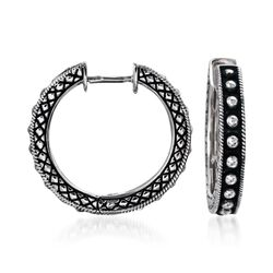 "Andrea Candela Sterling Silver Beaded Center Hoop Earrings. 3/4"", , default"