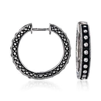 "Andrea Candela Sterling Silver Beaded Center Hoop Earrings. 3/4"", , default"