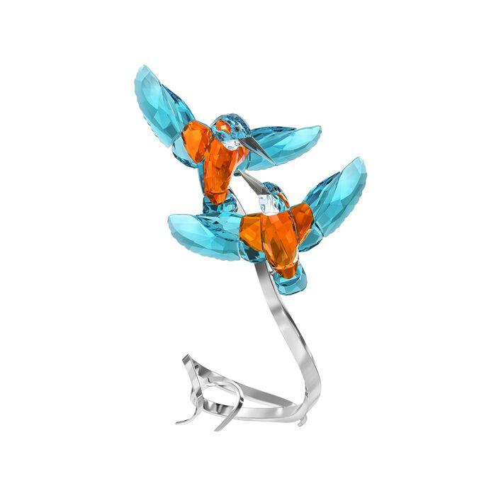 "Swarovski Crystal ""Kingfisher Couple"" Orange and Turquoise Blue Crystal Figurine"