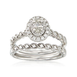 C. 2000 Vintage .93 ct. t.w. Diamond Bridal Set: Engagement and Wedding Rings in 14kt White Gold, , default