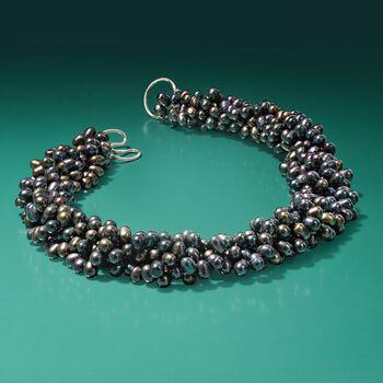 5-6mm Black Cultured Pearl Torsade Necklace With Sterling Silver, , default
