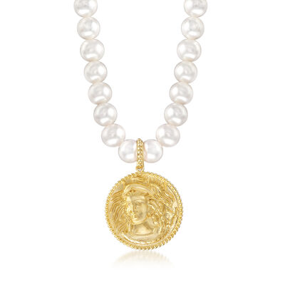 Italian 8-8.5mm Cultured Pearl Medusa Necklace in 18kt Yellow Gold Over Sterling Silver, , default