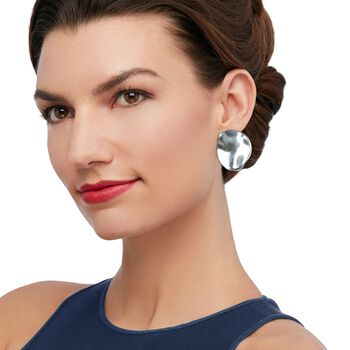 Sterling Silver Large Wavy Circle Clip-On Earrings, , default