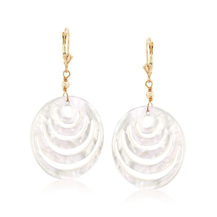 Carved Mother-Of-Pearl Disc Drop Earrings in 14kt Yellow Gold, , default