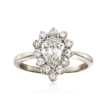 C. 1990 Vintage .80 ct. t.w. Diamond Ring in 18kt White Gold. Size 4, , default
