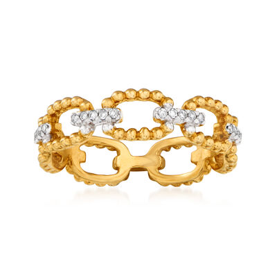 14kt Yellow Gold Beaded-Link Ring with Diamond Accents