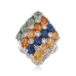 5.75 ct. t.w. Multicolored Sapphire and .36 ct. t.w. Diamond Ring in Sterling Silver, , default