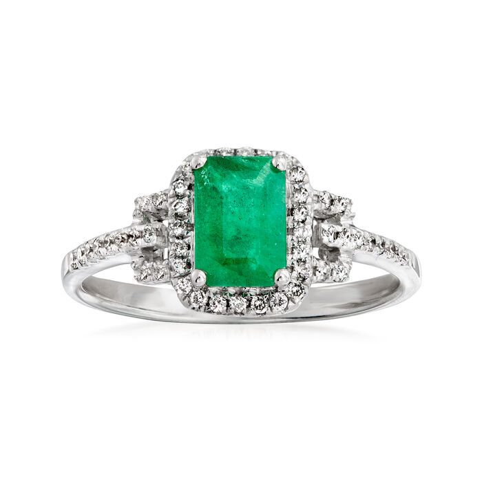 .90 Carat Emerald and .18 ct. t.w. Diamond Ring in 14kt White Gold