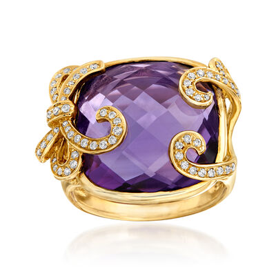 18.30 Carat Amethyst and .25 ct. t.w. Diamond Ring in 14kt Yellow Gold, , default