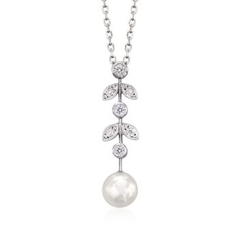 """Mikimoto 6.5mm A+ Akoya Pearl Drop Pendant Necklace With Diamond Accents in 18kt White Gold. 18"""", , default"""