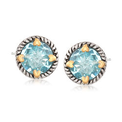 6.75 ct. t.w. Blue Topaz Rope Frame Earrings With Hearts in Two-Tone Sterling Silver, , default