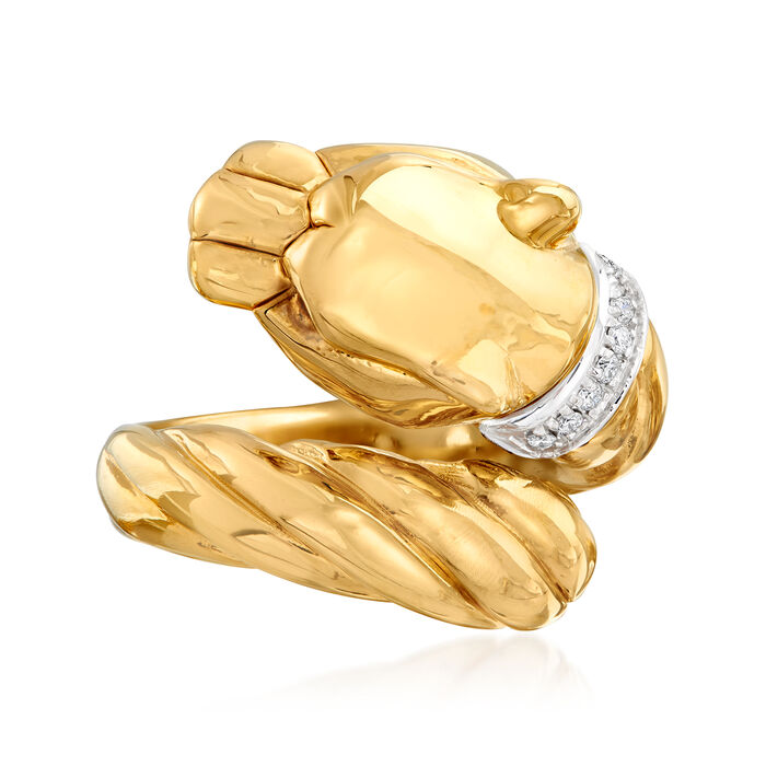 """Phillip Gavriel """"Italian Cable"""" Panther Ring with Diamond Accents in 14kt Yellow Gold"""