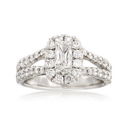 Henri Daussi 1.37 ct. t.w. Diamond Halo Engagement Ring in 18kt White Gold  , , default