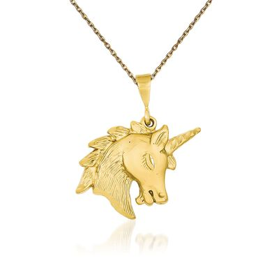 "14kt Yellow Gold Textured and Diamond-Cut Unicorn Head Charm Necklace. 18"", , default"