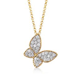 "Roberto Coin .25 ct. t.w. Diamond Butterfly Necklace in 18kt Yellow Gold. 18"", , default"