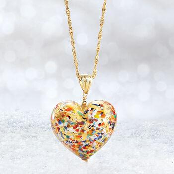 Italian Murano Glass Heart Pendant in 18kt Gold Over Sterling
