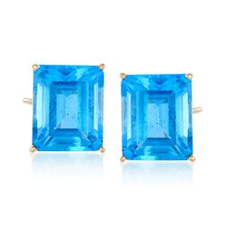 15.00 ct. t.w. Blue Topaz Stud Earrings in 14kt Yellow Gold , , default