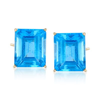 15.00 ct. t.w. Blue Topaz Stud Earrings in 14kt Yellow Gold, , default