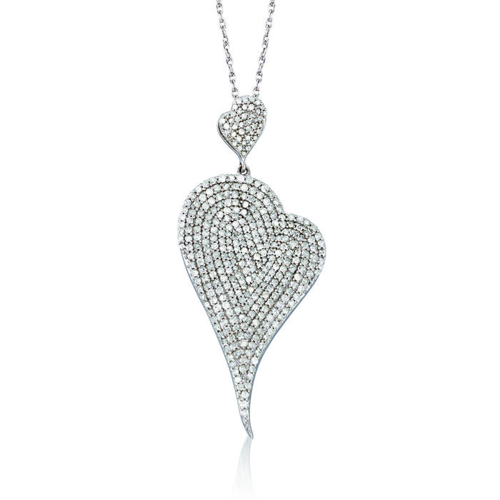2.00 ct. t.w. Pave Diamond Heart Pendant Necklace in Sterling Silver