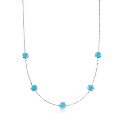 Stabilized Turquoise Station Necklace in Sterling Silver, , default