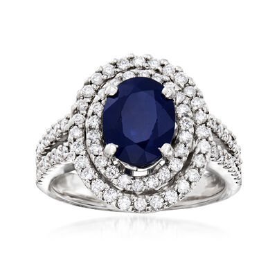 1.50 Carat Sapphire and 1.25 ct. t.w. Diamond Double-Halo Ring in 14kt White Gold