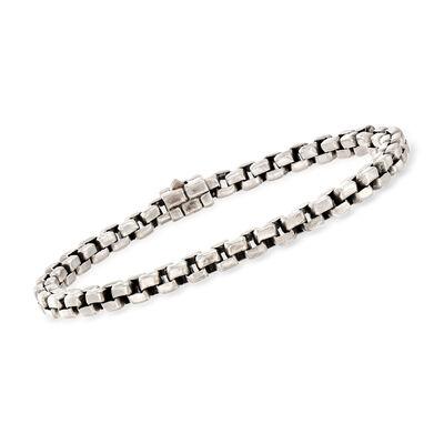 C. 1990 Vintage John Hardy Men's Sterling Silver Box-Link Bracelet, , default