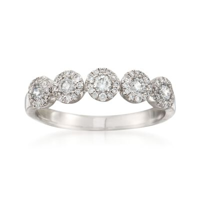 .50 ct. t.w. Diamond Five-Stone Halo Wedding Ring in 14kt White Gold , , default