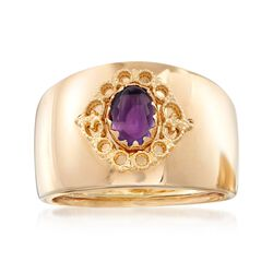 Italian .60 Carat Amethyst Ring in 14kt Yellow Gold, , default