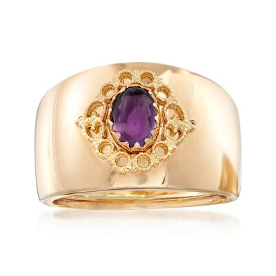 Italian .60 Carat Amethyst Ring in 14kt Yellow Gold, , default