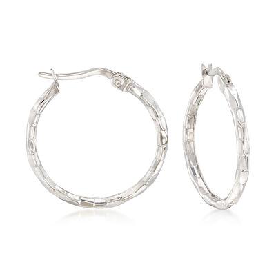 14kt White Gold Patterned Hoop Earrings, , default