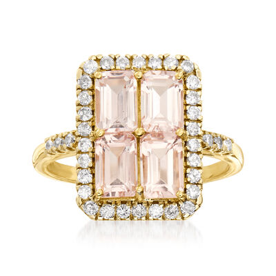2.10 ct. t.w. Morganite and .41 ct. t.w. Diamond Frame Ring in 14kt Yellow Gold