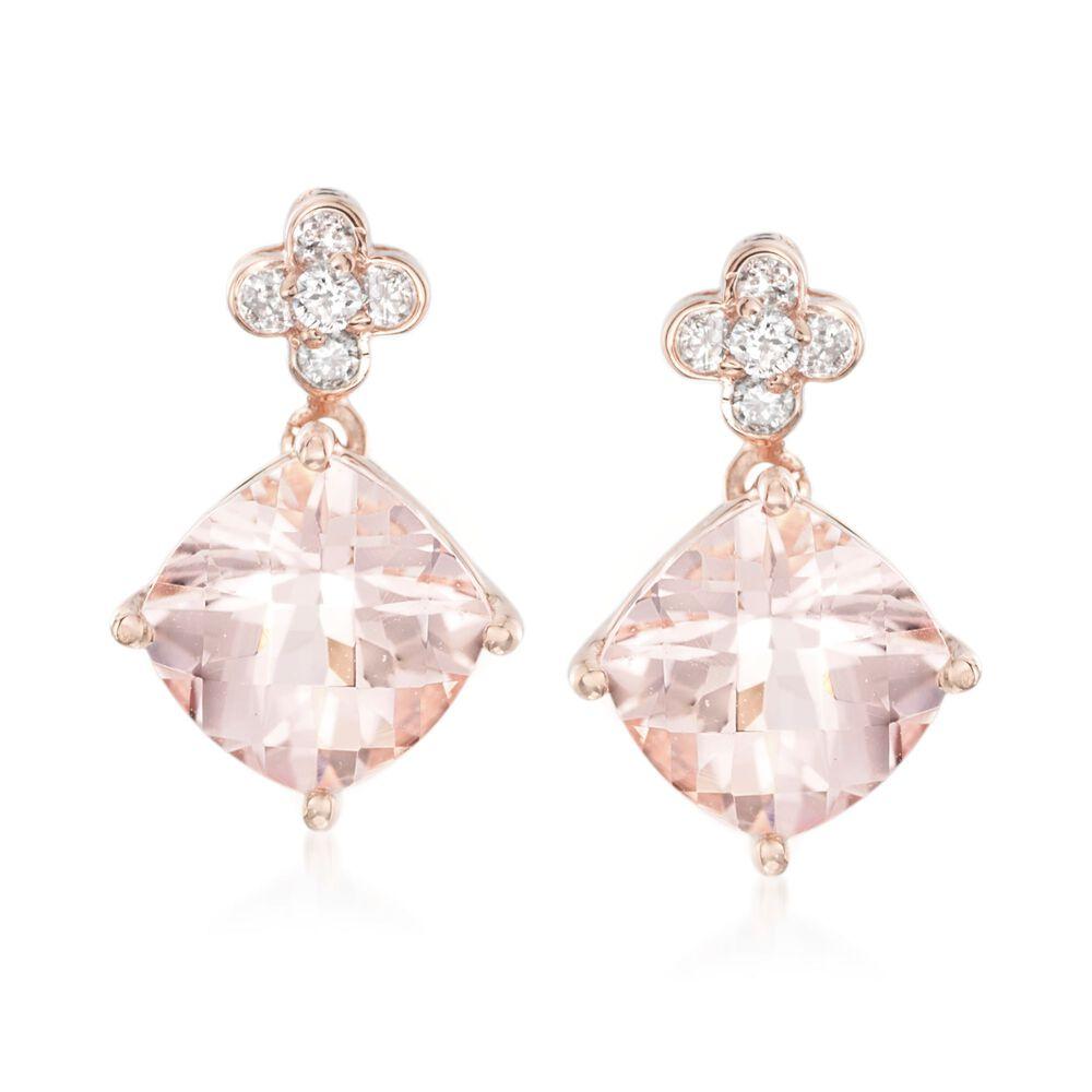 f6fbe0791b4be 3.00 ct. t.w. Morganite and .13 ct. t.w. Diamond Drop Earrings in 14kt Rose  Gold