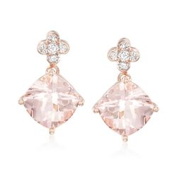 3.00 ct. t.w. Morganite and .13 ct. t.w. Diamond Drop Earrings in 14kt Rose Gold, , default