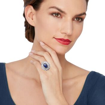Lapis and Moonstone Ring With .50 ct. t.w. White Topaz in Sterling Silver , , default