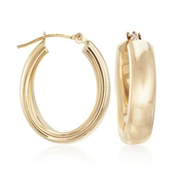 "14kt Yellow Gold Oval Hoop Earrings. 7/8"", , default"