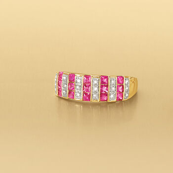 .80 ct. t.w. Ruby Ring with Diamond Accents in 14kt Yellow Gold, , default