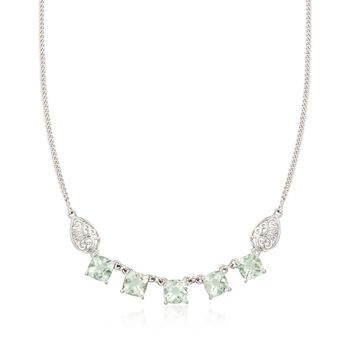 """9.50 ct. t.w. Green Amethyst Necklace With Scrolled Sides in Sterling Silver. 18"""", , default"""
