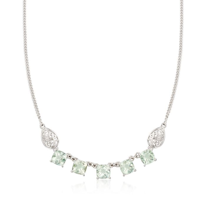 "9.50 ct. t.w. Green Prasiolite  Necklace with Scrolled Sides in Sterling Silver. 18"", , default"