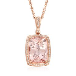 "13.45 Carat Morganite and .33 ct. t.w. Diamond Pendant Necklace in 14kt Rose Gold. 18"", , default"