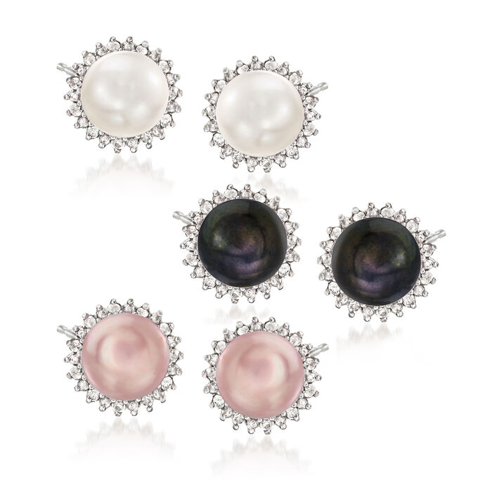 7-7.5mm Multicolored Cultured Pearl and .39 ct. t.w. Diamond Jewelry Set: Three Pairs of Earrings in Sterling Silver, , default
