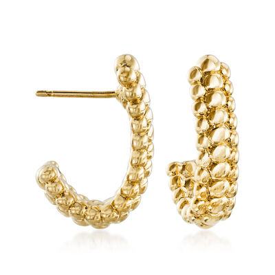 14kt Yellow Gold Beaded J-Hoop Earrings